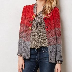 Sleeping on Snow Anthropologie Cardigan Red Ombre